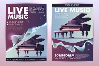 Festival de música clássica ou jazz, concerto ao vivo da orquestra sinfônica, performance virtuosa de piano