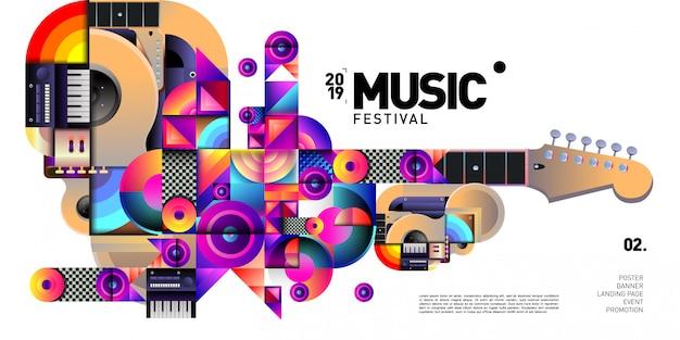 Festival de música colorida de vetor para banner de evento e poster