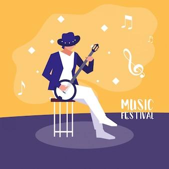 Festival de música com homem tocando banjo