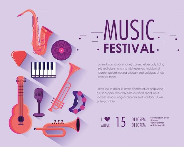 Festival de música com instrumentos profissionais para desempenho