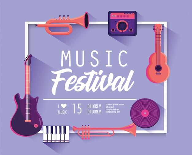 Festival de música com instrumentos profissionais para evento