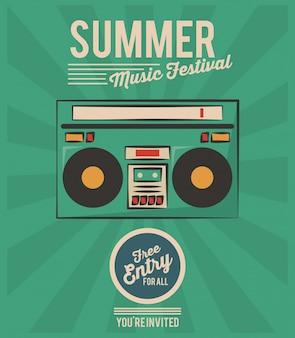 Festival de música de verão, rádio estéreo, saudação vintage