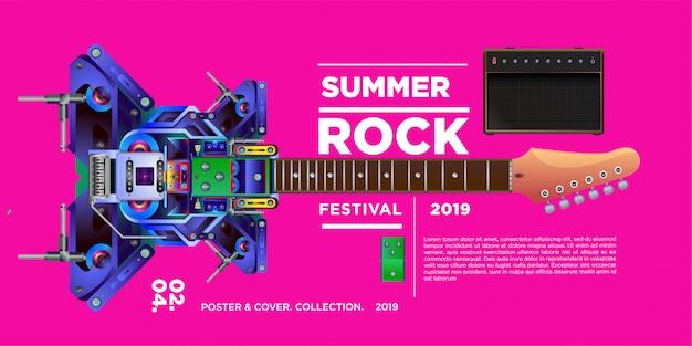 Festival de música e guitarra rock de ilustração vetorial