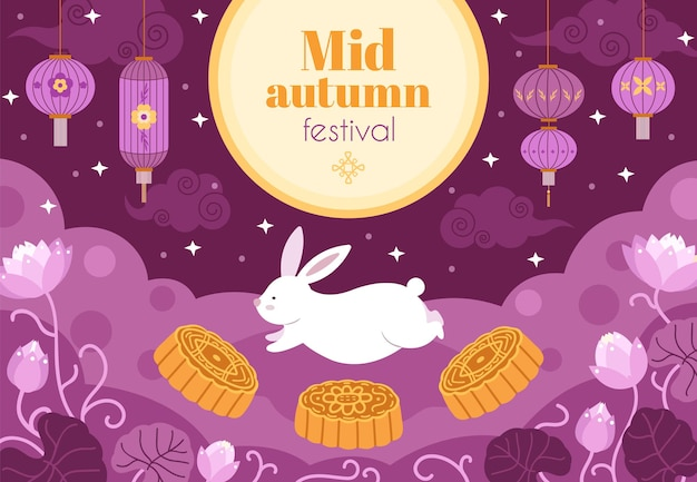 Festival de outono asiático. noite fest, lua cheia luz feriado chinês banner. ramo floral asiático, mooncake e ilustração vetorial de coelhinha fofa. bolo lunar e coelho branco bagunçado, lanterna noturna leve