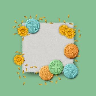 Festival de outono. bolo da lua e flores em uma folha de papel