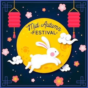 Festival de outono desenhado à mão com coelho e lua