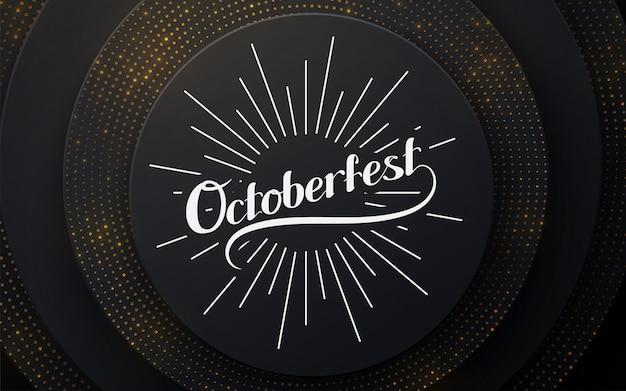 Festival de outubro. ilustração de férias com composição de letras. papel preto cortado fundo. decoração realista realista papercut em camadas texturizada.