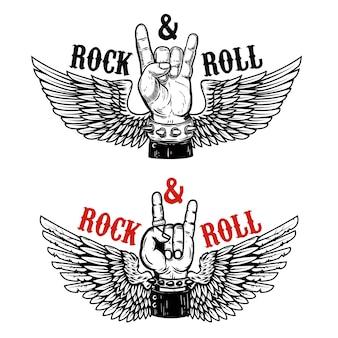 Festival de rock. mão humana com sinal de rock and roll no fundo com asas.