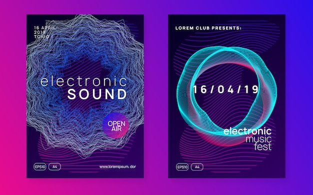 Festival de som eletrônico. panfleto de evento do clube.