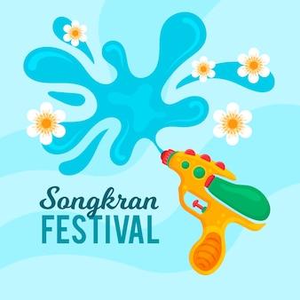 Festival de songkran de design plano