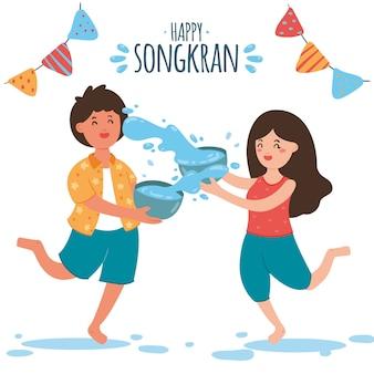 Festival de songkran de estilo desenhado de mão
