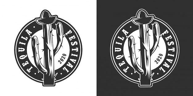 Festival de tequila mexicana vintage rodada logotipo
