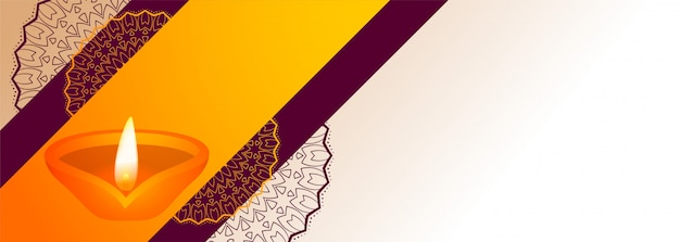Festival diwali decorativo diya com banner de espaço de texto