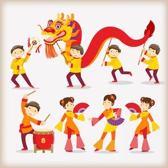 Festival do ano novo chinês / dança do dragão