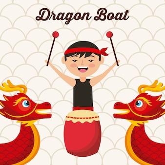 Festival do barco do dragão homem chineese bateria música tradicional