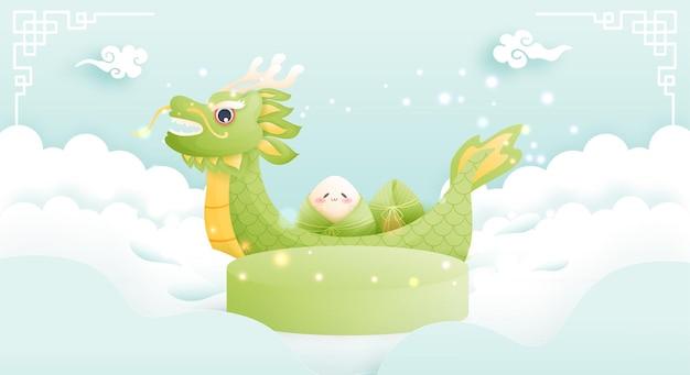 Festival do barco dragão chinês com bolinho de arroz, exposição de produtos