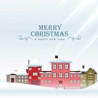 Festival do feliz natal saudação com casas cobertas de neve