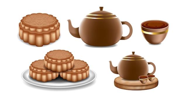 Festival do meio do outono com bolo lunar do bule de chá chinês no fundo branco isolado