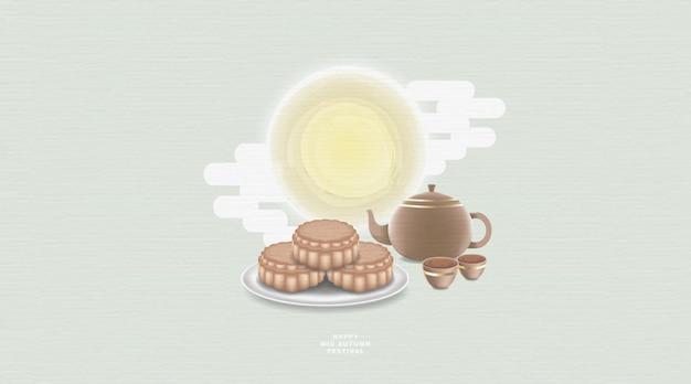 Festival do meio do outono com bule de chá chinês e bolo lunar da lua em cor pastel.