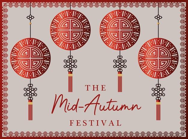 Festival do meio do outono com cabides da sorte vermelhos com moldura