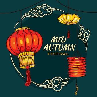 Festival do meio do outono desenhado à mão