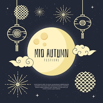 Festival do meio do outono em design plano