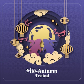 Festival do meio do outono em estilo jornal