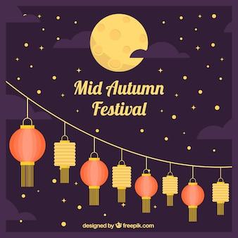 Festival do outono médio, cena com lanternas e lua cheia