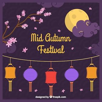 Festival do outono médio, cena com lanternas