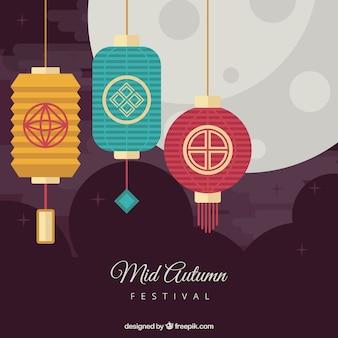 Festival do outono médio, cena com três lanternas