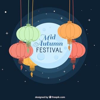 Festival do outono médio, cena fofa com lanternas de cores