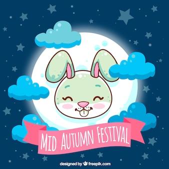 Festival do outono médio, cena fofa com um coelho e lua cheia