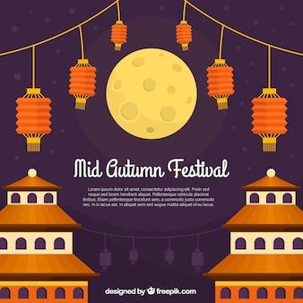 Festival do outono médio, lanternas alaranjadas