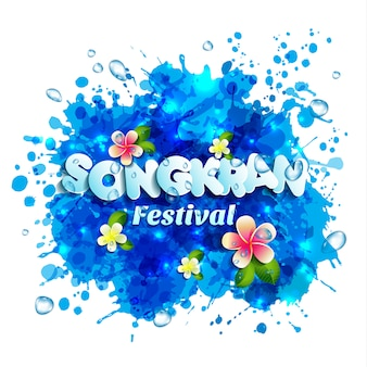 Festival do songkran do logotipo de tailândia com respingo da água.