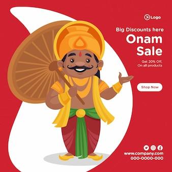 Festival do sul da índia feliz desenho de banner de venda de onam