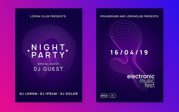 Festival eletrônico. folheto de discoteca moderna com forma e linha de gradiente dinâmico.