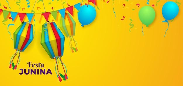 Festival festa junina com decorações coloridas de lanternas de papel