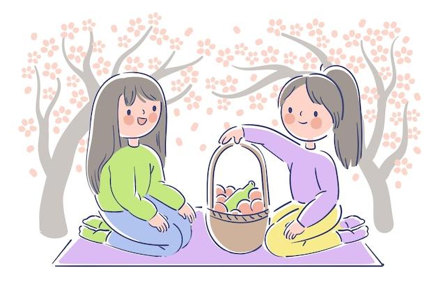 Festival hanami sakura e piquenique