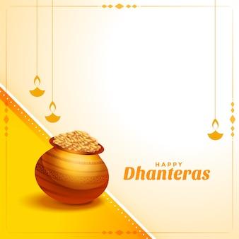 Festival hindu de fundo dhanteras felizes
