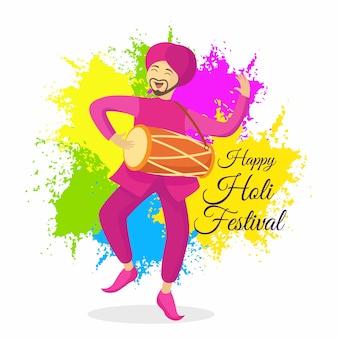 Festival holi em design plano