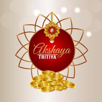 Festival indiano de akshaya tritiya com moedas de ouro