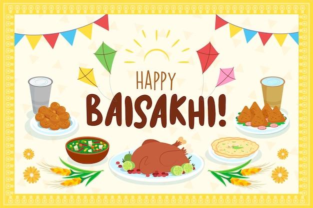 Festival indiano de baisakhi com comida tradicional