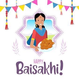 Festival indiano de baisakhi com mulher e sobremesa