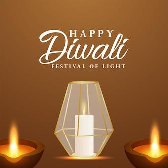 Festival indiano de cartão de comemoração do feliz diwali com diwali diya criativo