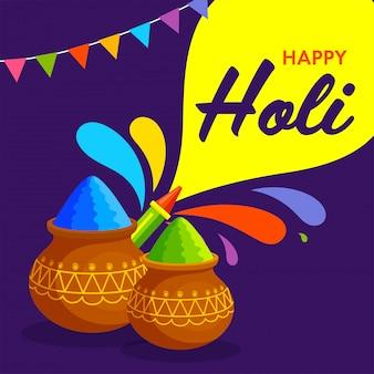 Festival indiano de cores, feliz holi ilustração com pote tradicional, pó de cor, arma de cor e respingo.