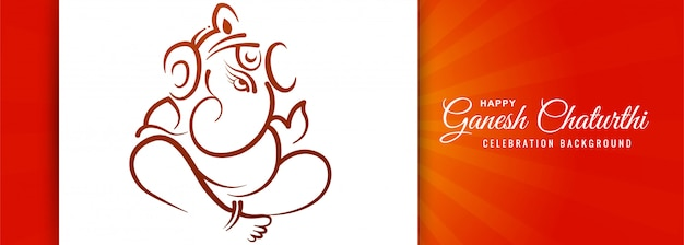 Festival indiano de fundo de banner de cartão ganesh chaturthi