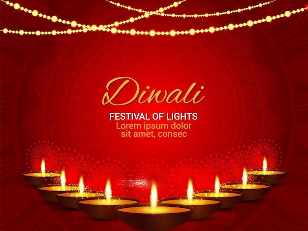 Festival indiano de luz feliz fundo diwali