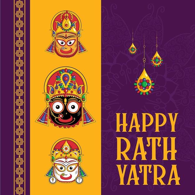 Festival indiano feliz desenho de banner rath yatra