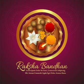 Festival indiano feliz raksha bandhan com fundo de pooja thali