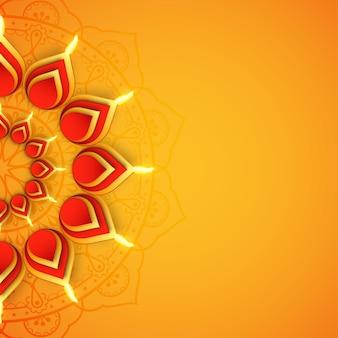 Festival indiano feliz saudação de lâmpada de óleo diwali